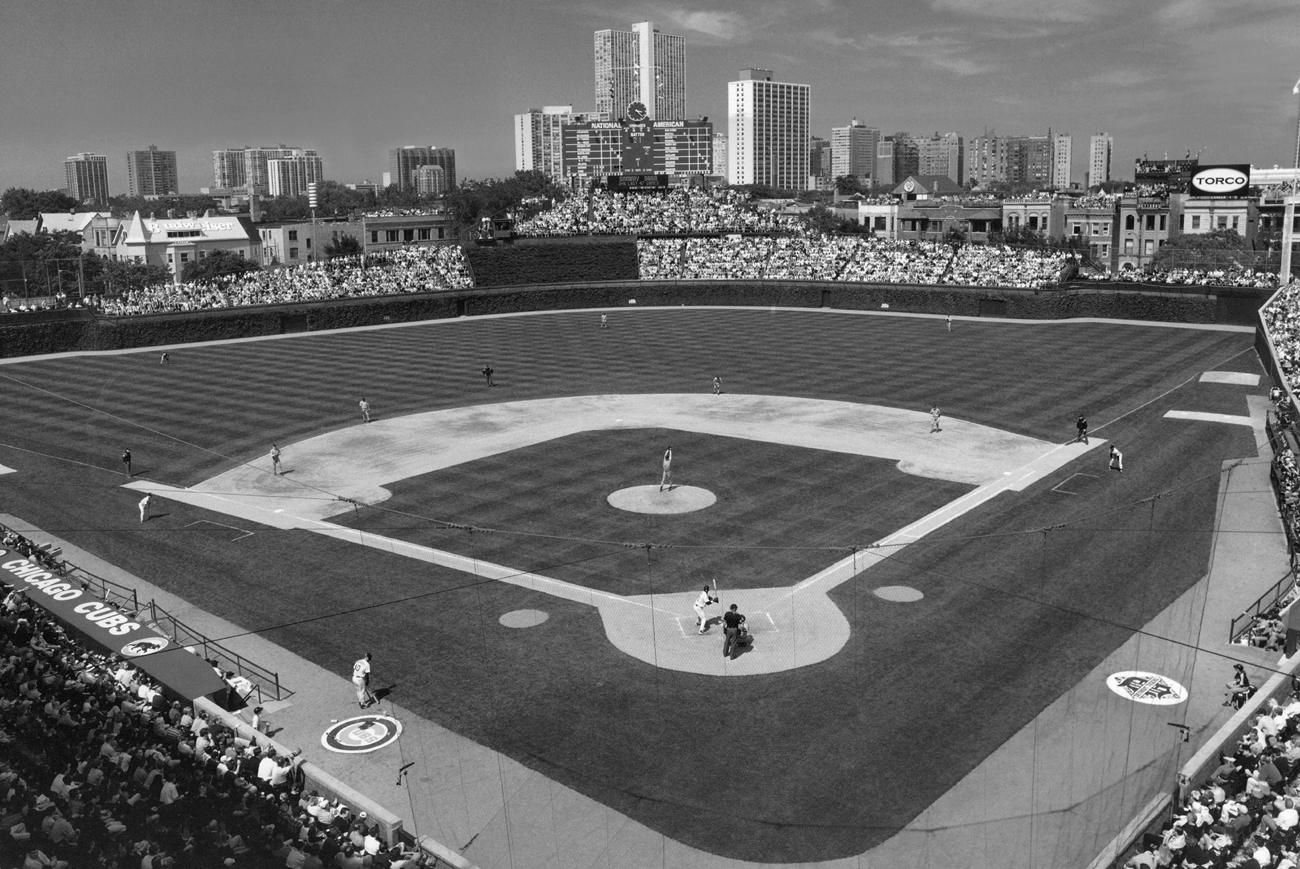 Chicago Cubs Wallpaper Black White Wrigley Field Inside View