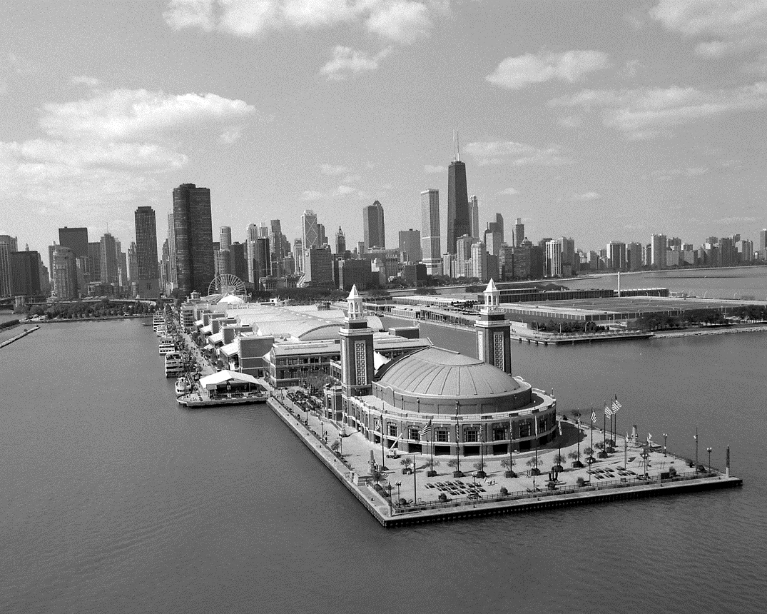 Chicago Black White Wallpaper Aerial Of Navy Pier With Skyline