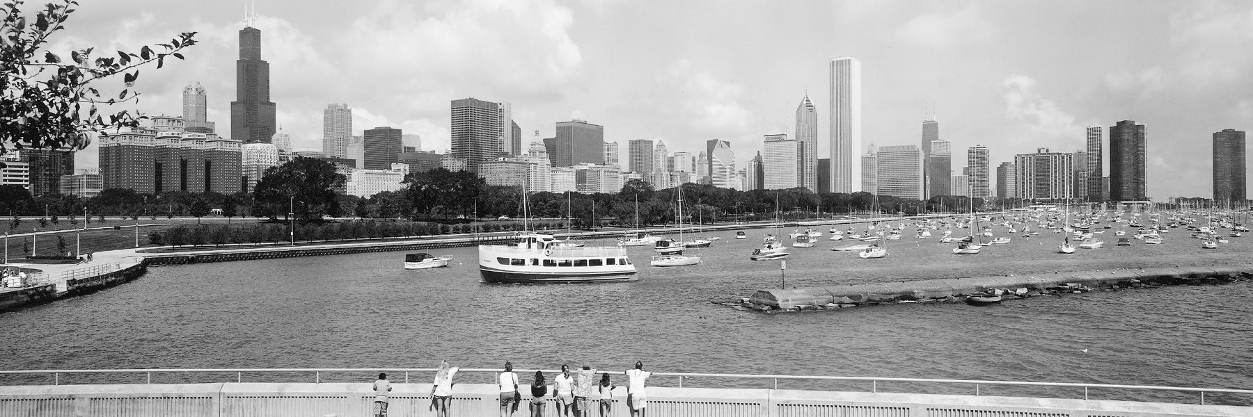 Chicago Panoramas Wallpaper Black White Lakefront Panorama